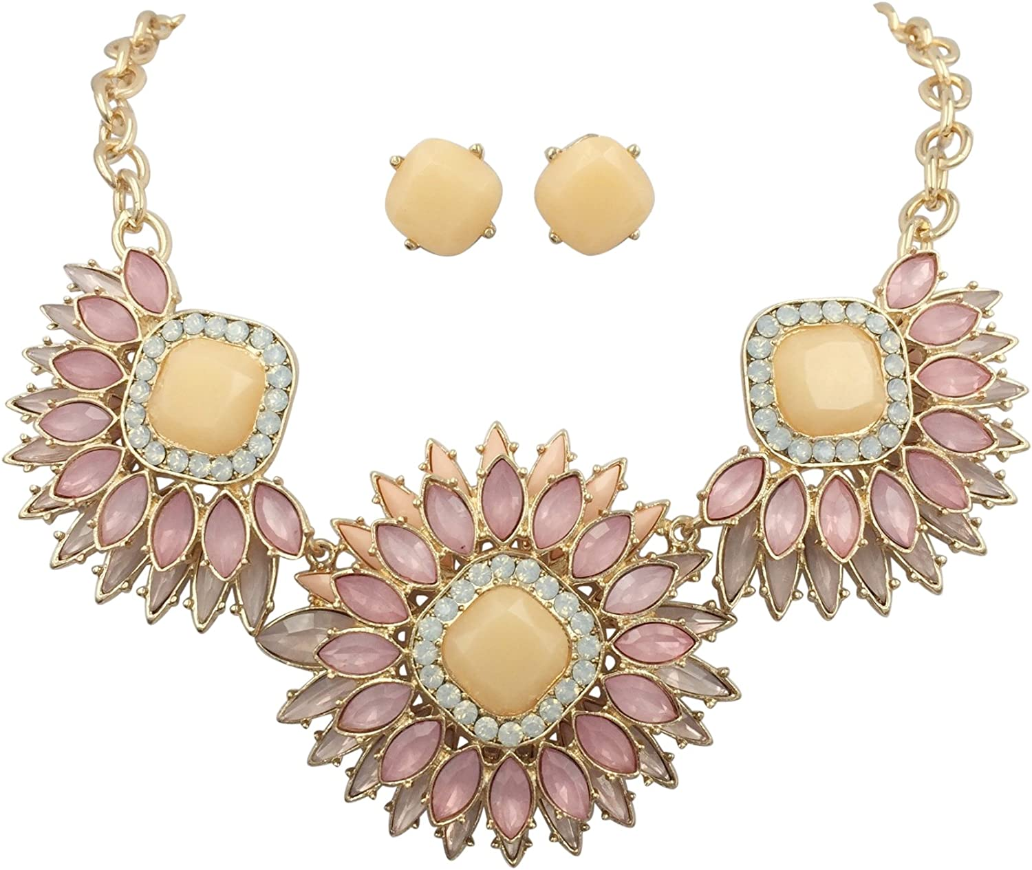 Gypsy Jewels Large Abstract Bib Statement Boutique Necklace & Earrings Set -Assorted Colors