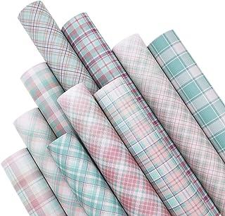 ZAIONE 10PCS/Set Plaid Printed Retro Pastel Colors Series Faux Leather Sheets Bundle 12inch x 8inch Striped Printed Tartan...
