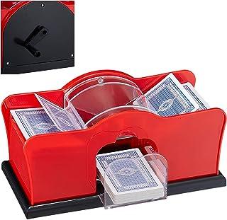 Relaxdays Kartenmischmaschine, 2 Decks, Kurbel, manuelles Mischgerät für Spielkarten..