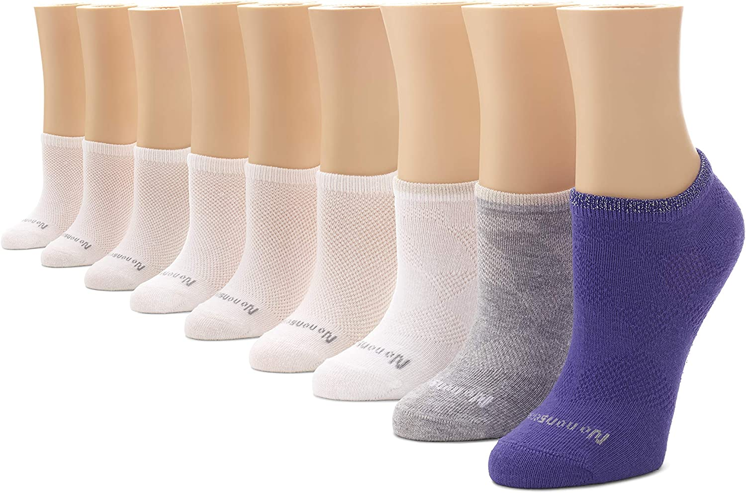 No Nonsense womens Soft and Breathable Cushioned No Show Liner Sock, 9 Pair Pack Socks, Assorted