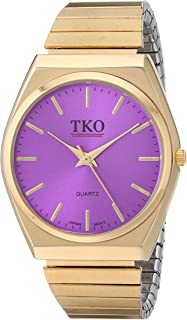 TKO Gold Stainless Steel Expansion Bracelet Stretch Thin Case Purple Face Flex Teen Girls Watch TK649PR