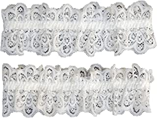 TVRtyle Women White Lace Wedding Garter for Bride Pack of 2pcs S501W