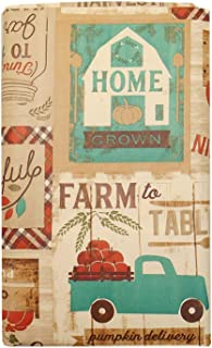 farm to Table Fall Patchwork Vinyl Tablecloth with Soft Brown Accents, Plaids, Pickup Truck, Faded Signs- Flannel Backing (52 x 102 Oblong)