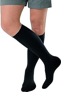 JOBST forMen Ambition Knee High with SoftFit Technology Band, 20-30 mmHg Ribbed Dress Compression Socks, Closed Toe, 4 Regular, Black