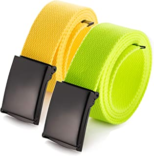 "Cut To Fit Canvas Web Belt Size Up to 52"" with Flip-Top Solid Black Military Buckle (16 Color and Combo Pack Options)"