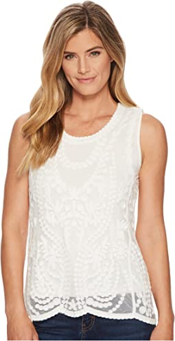 Tribal Sleeveless Embroidered Mesh Top