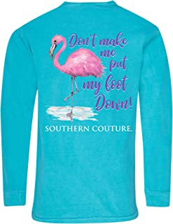 Southern Couture Put My Foot Down Flamingo Lagoon Blue Cotton Fabric Long Sleeve T-Shirt