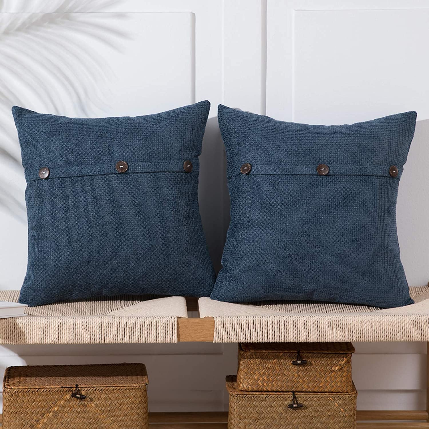 Anickal Gray Blue Pillow Covers 18x18 National products Triple Buttons Great interest with Inch S