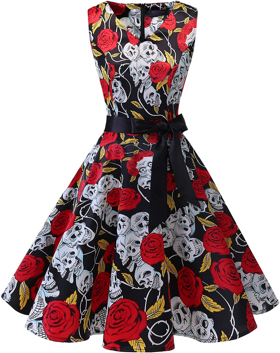 Bridesmay Women's VNeck Audrey Hepburn 50s Vintage Elegant Floral Rockabilly Swing Cocktail Party Dress