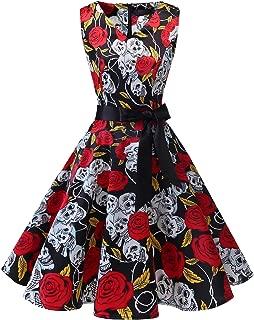 Bridesmay Women's V-Neck Audrey Hepburn 50s Vintage Elegant Floral Rockabilly Swing Cocktail Party Dress