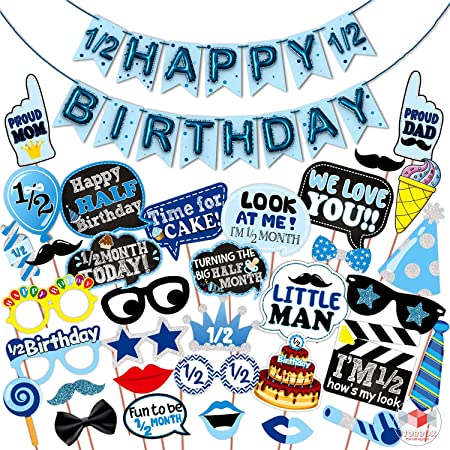 WOBBOX Half Birthday Photo Booth Party Props Blue for Baby Boy with Half Birthday Bunting Banner for Baby Boy in Blue, 1/2 Birthday Decorations for Boys, Kids Birthday Party Decoration Items