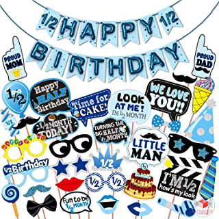 WOBBOX Half Birthday Photo Booth Party Props Blue for Baby Boy with Half Birthday Bunting Banner for Baby Boy in Blue, 1/2...