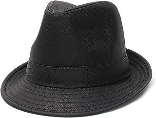 Jelord - Sombrero Fedora de Hombre PU Sombrero Impermeable Trilby Británico Gorro Jazz Caballeros ala Ancha para Sol Sombr...
