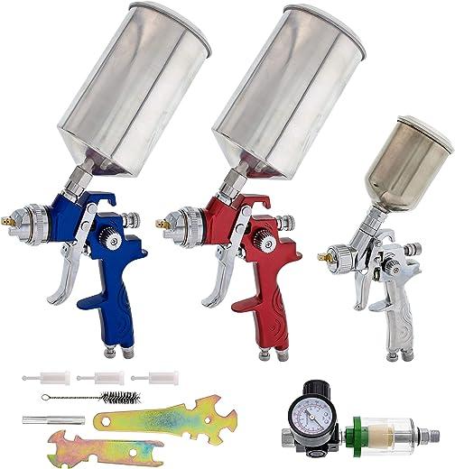 TCP Global Complete Professional 9 Piece HVLP Spray Gun Set with 2 Full Size Spray Guns, 1 Detail Spray Gun, Inline Filter & Air Regulator