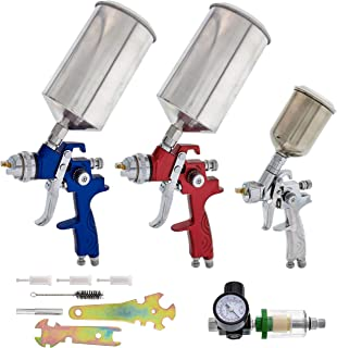 TCP Global Complete Professional 9 Piece HVLP Spray Gun Set with 2 Full Size Spray Guns, 1 Detail Spray Gun, Inline Filter...