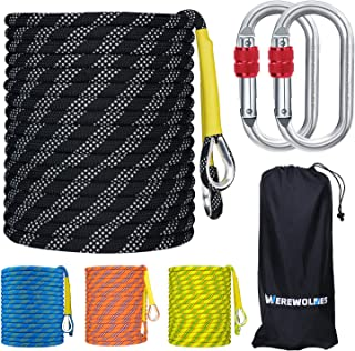 WEREWOLVES 8MM Climbing Rope, 32ft/65ft/98ft/165ft/246ft High Strength Outdoor Safety Static Rock Climbing Rope, Escape Ro...