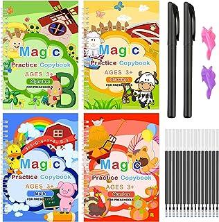 4Pcs Magic Practice Copybook for Kids Reusable Magical Handwriting Copybooks Set Template Design Calligraphy Copybook Work...