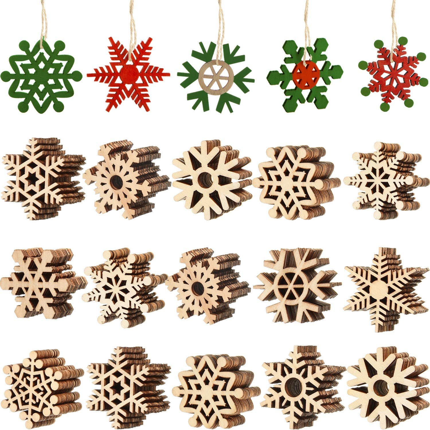 100 Pieces Unfinished Wooden Ranking TOP14 Snowflake Ornaments At the price of surprise Hangi