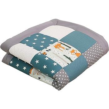 100x100 cm Baby Kuscheldecke, ideal als Laufgittereinlage, Spieldecke, Motiv: Punkte, Sterne, Patchwork ULLENBOOM /® Baby Krabbeldecke Rosa Grau