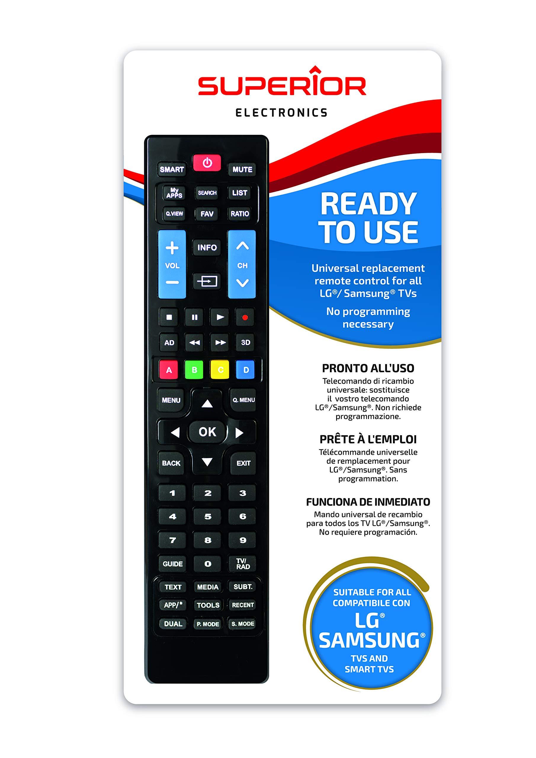 Mando a Distancia Universal para Todos los televisores LG y Samsung, Listo para Usar, no Requiere programación.: Amazon.es: Electrónica