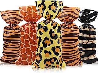 120 Pieces Jungle Animal Treat Bags, Wild Giraffe Cheetah Zebra Tiger Print Cellophane Plastic Candy Bags Goodie Favor Bag...