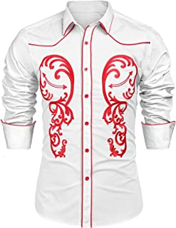 JINIDU Men's Western Cowboy Embroidered Denim Cotton Long Sleeve Button Shirt