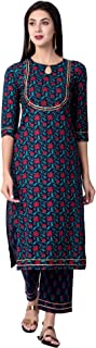 Gulmohar Jaipur Women's Straight Cotton Printed Kurta Palazzo Set (Blue)