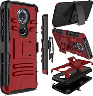 zenic Moto G6 Play Case, Heavy Duty Shockproof Full-Body Protective Hybrid Case Cover with Swivel Belt Clip and Kickstand for Motorola Moto G6 Play (Red)