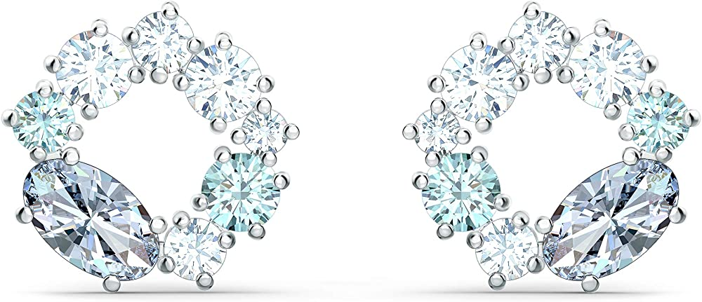 Swarovski orecchini stud attract circle, placcato rodio 5570943