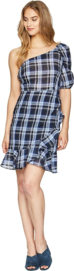 One Shoulder Gingham Mini Dress