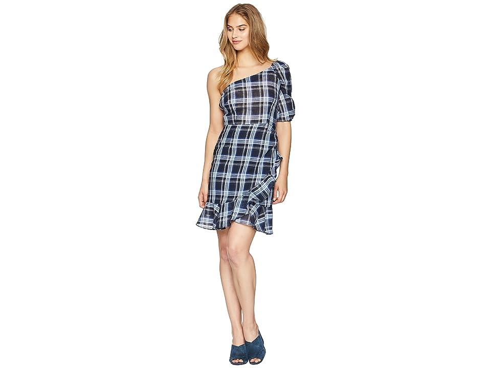 Donna Morgan One Shoulder Gingham Mini Dress (Blue/Black Multi) Women