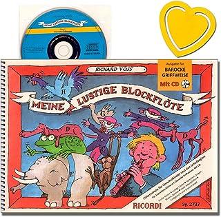 Mis divertidas flauta dulce soprano (mango barroco) con CD para escuchar y jugar – Autor: Richard Voss – con colorido clip en forma de corazón – SY2737 9790204227372