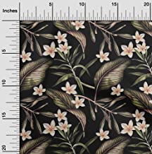 oneOone Viscose Jersey Black Fabric Floral & Leaves Tropical Sewing Material Print Fabric by The Meter 60 Inch Wide