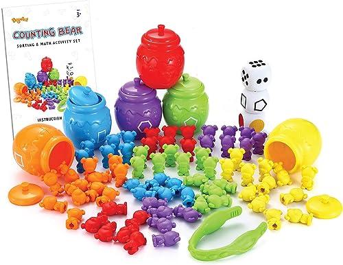 Juego de Juguetes para Contar / clasificar Osos con Tazas de clasificación a Juego Juego para niños pequeños