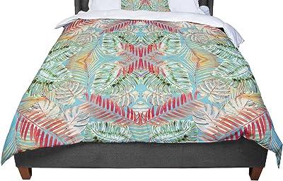 104 x 88 Kess InHouse Mydeas Nautical Breeze-Sandy Stripes Tan Blue Cotton King Duvet Cover