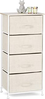 Relaxdays Cajonera Multiusos con 4 Cajones Metal-Tela Beige 105 x 45 x 30 cm