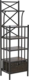Furniture Hotspot – Bakers Rack w/Storage - Rustic Brown w/Dark Distressed Pine - 16.5