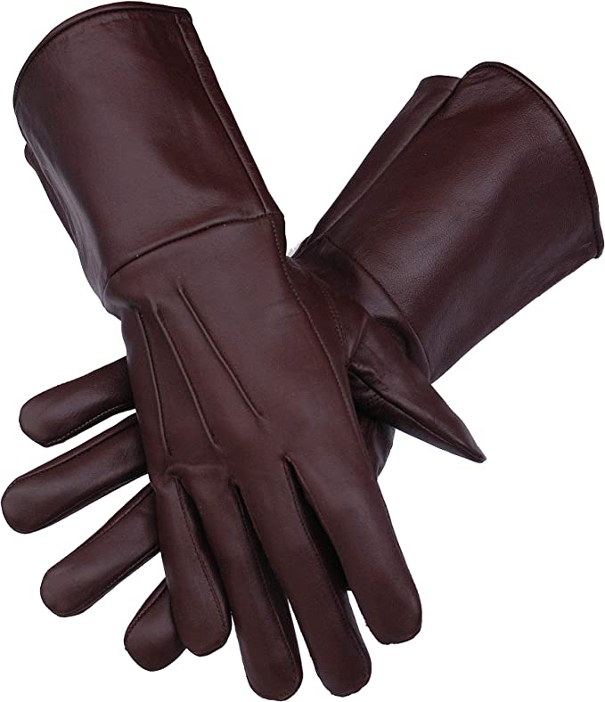 Men's Steampunk Accessories: Googles, Cane, Gloves Mens Medieval Renaissance Cosplay Unlined Gauntlet Genuine Leather Costume Gloves Artillery/Cavalry/Infantary Long Arm Cuff  AT vintagedancer.com