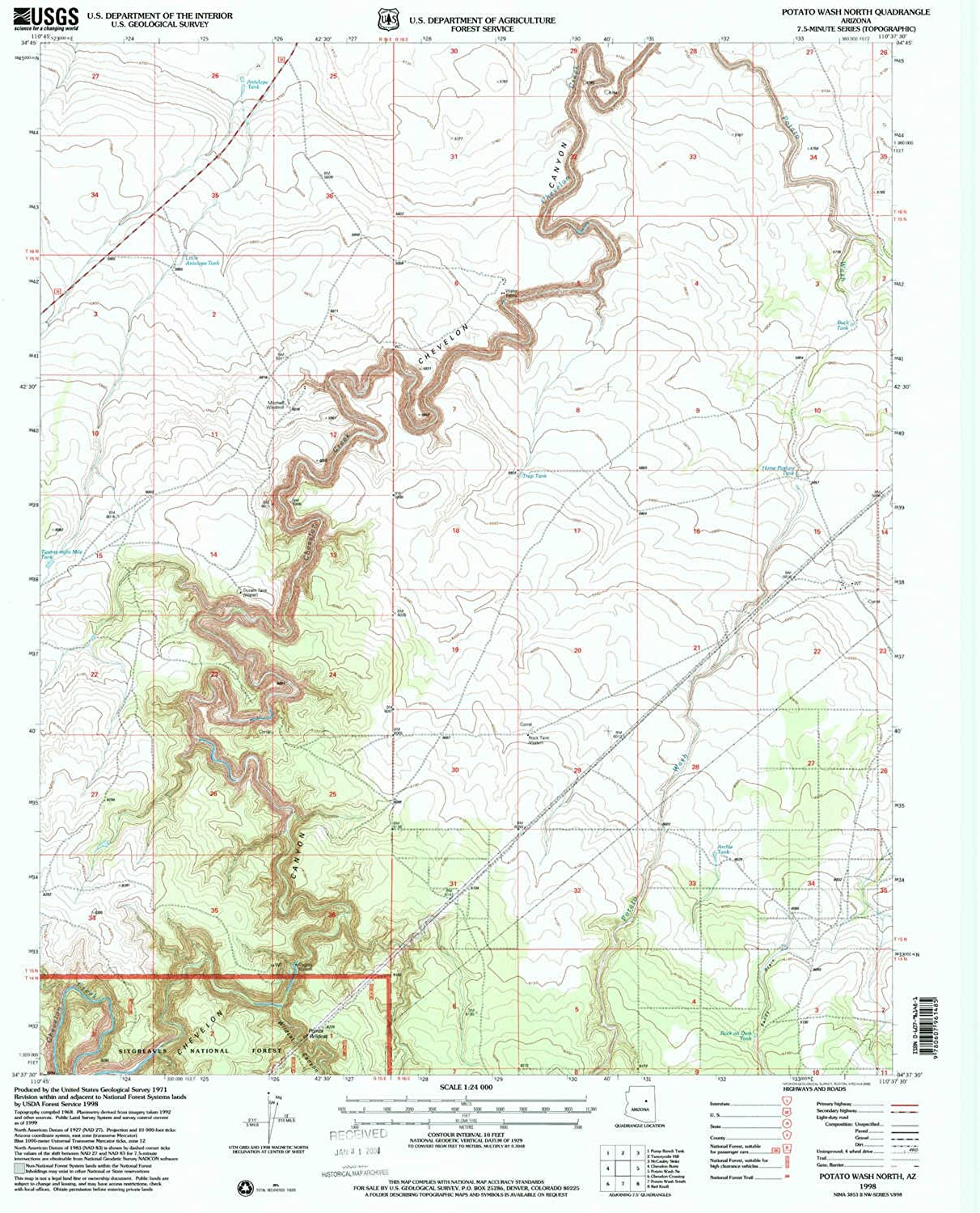 Potato Wash North AZ topo map, 1 24000 Scale, 7.5 X 7.5 Minute, Historical, 1998, Updated 2000, 26.7 x 22 in