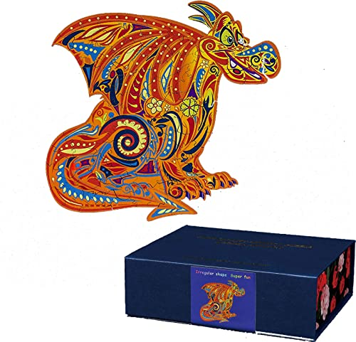 new arrival OPTIMISTIC Unique Shaped Wooden Jigsaw Puzzles - Cartoons Charizard - Wooden Puzzle Jigsaw, Best Gift 2021 for high quality Adults and Kids,10Inch, 109 Pieces, 2.5MM Thick Pieces, Holiday Home Decoration outlet online sale