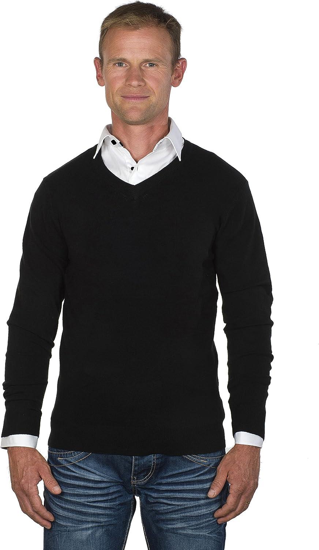 Ugholin - Jersey y Camisa 2 en 1 Cuello en V para Hombre ...