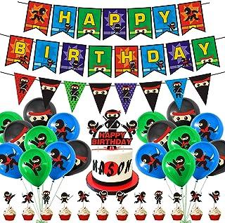 Ninja Birthday Party Supplies Decorations,Ninja birthday decorations,Ninja Happy Birthday Banner 12Cupcake Toppers Ninja B...