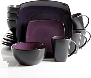 Gibson Home Soho Lounge 16-Piece Dinnerware Set, Purple