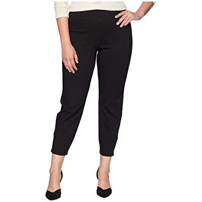 HUE Plus Size Classic Pinstripe Loafer Skimmer Leggings (Black) Women