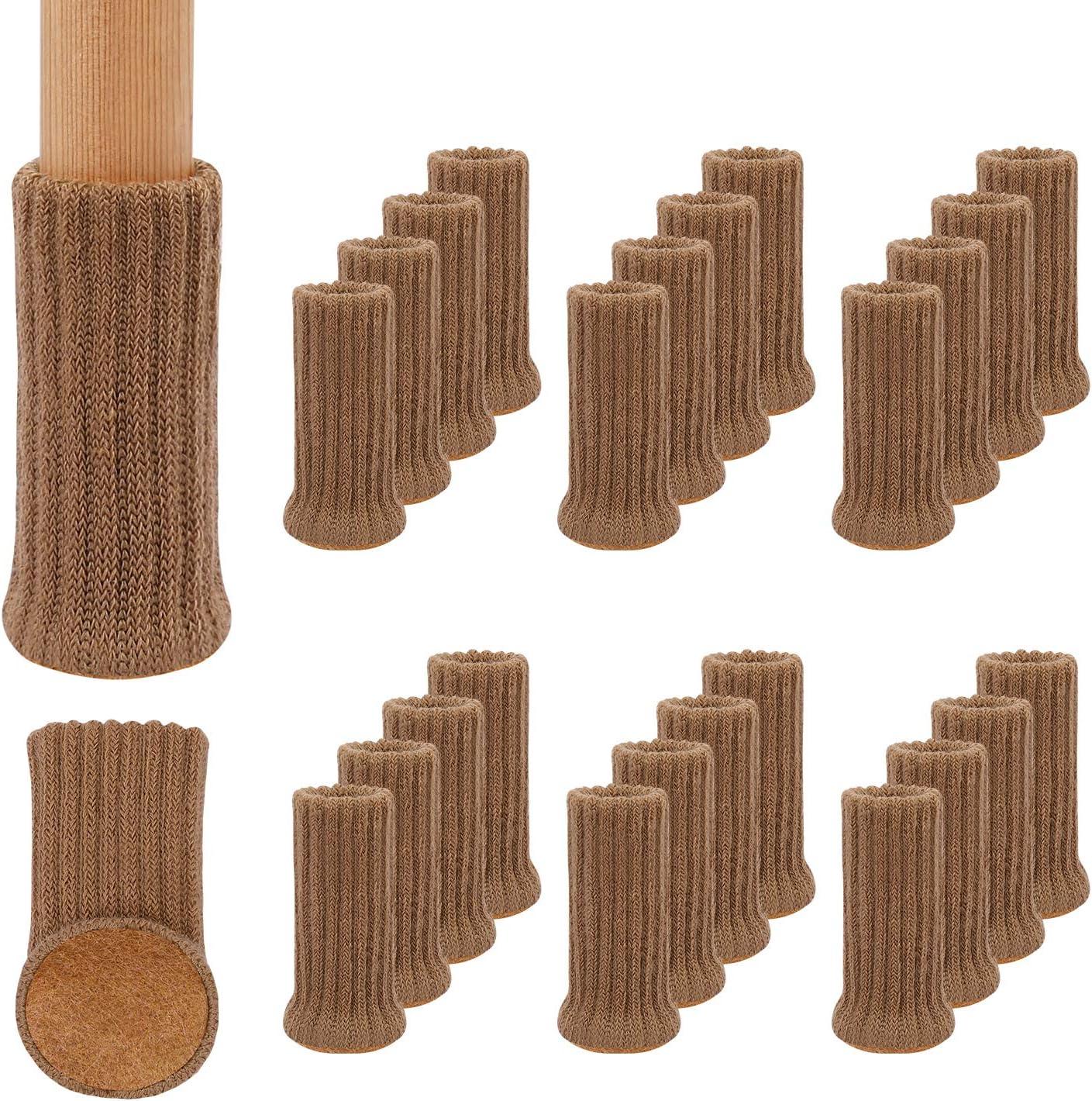 24Pcs Calcetines para Patas de Silla y Mesa, Elásticos Protectores de Pata de Madera Gruesa, Muebles Tapa de Cubre-Antideslizante & Antiarañazos, Almohadillas para Muebles de Punto de 1 a 2