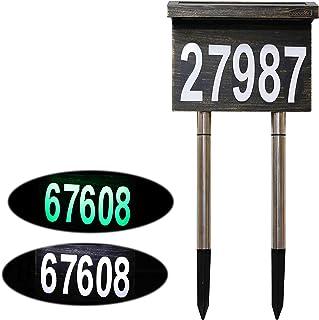 Dual-use Solar House Numbers Light - 2 Lighting Modes Bronze Aluminium Address Sign for House or Yard - 12 LED Light up Ho...