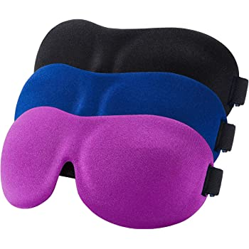 YIVIEW Sleep Mask Pack of 3, Lightweight & Comfortable Super Soft Adjustable 3D Contoured Eye Masks for Sleeping, Travel, Shift Work, Naps, Night Blindfold Eyeshade for Men Women, Black/Blue/Purple