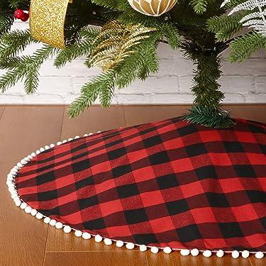 Sattiyrch Buffalo Plaid Christmas Tree Skirt with Pom Trim,Red Black Buffalo Check Christmas Tree Skirt for Holiday Christmas Decorations (48in)