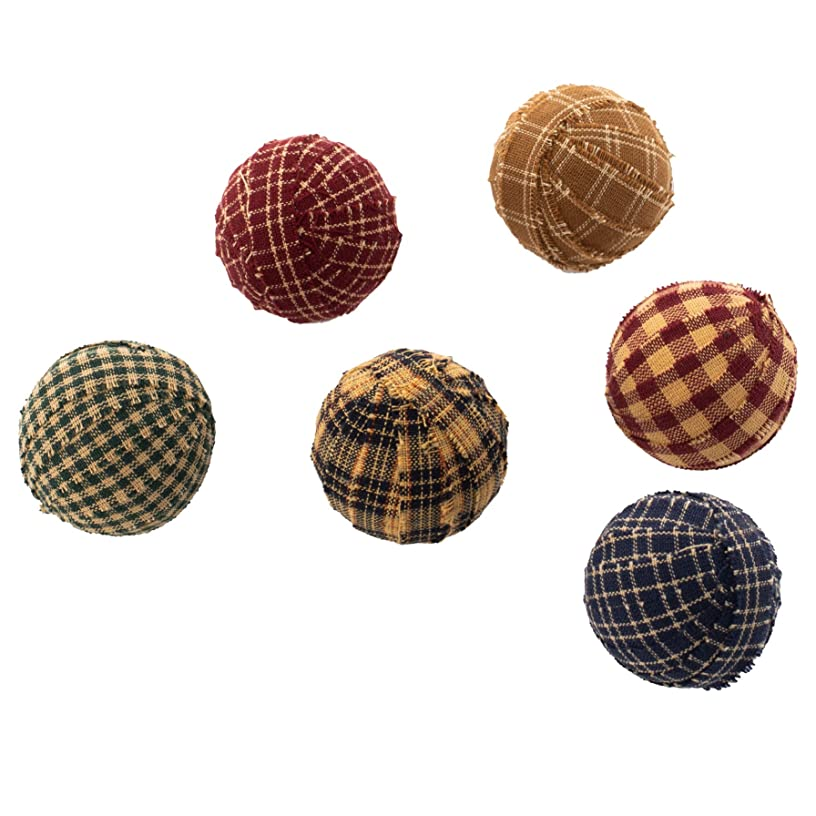 The Country House Small Rag Ball Multicolored Plaid and Check 2 x 2 Fabric Vase Fillers Set of 6