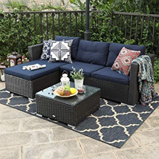 PHI VILLA 3-Piece Patio Furniture Set Rattan Sectional Sofa Wicker Furniture, Blue
